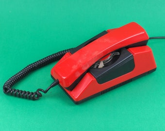 Vintage land line rotary Phone. Retro telephone in nice condition. Great for your interior! Home decor. Red color. Working! Free shipping