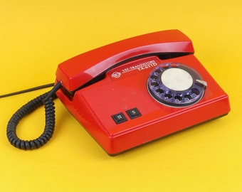 Vintage land line rotary Phone VEF. Latvian telephone in red color. Great for your interior or collection! Home decor. Free shipping