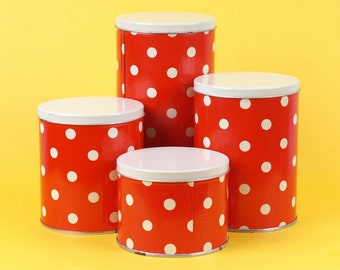 Set of Vintage Polka Dot TIN Cans made by soviets. Set of 4! Ussr made beautiful red kitchen tin boxes with dots. In original packaging. NOS