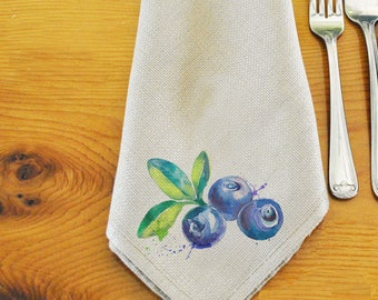 Ambience Napkins Blueberries Cyan Blue Berry Floral Green Blue 20 Piece 33x