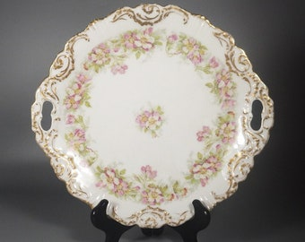 Antique Coiffe Borgfeldt Coronet Limoges Cake Plate - Hand Painted Pink Wild Roses