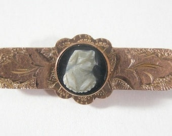 Petite Antique Victorian Cameo Collar Pin on Black Onyx