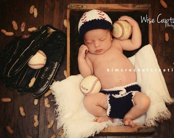 2d4759729c9e Crochet BASEBALL Hat Set, Diaper Cover, Photo Props, Baby Boy Shower Gift,  Preemie, Newborn to 12 months, bringing home baby, baby's 1st hat