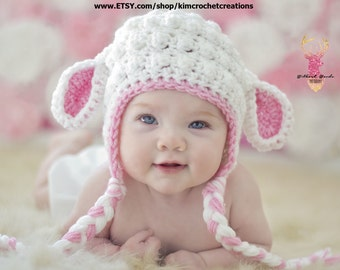 9a2bc718098 Crochet LAMB Hat White   Pink Baby Girl Photo Props Baby Shower Gift Easter  Lambie hat Preemie newborn - toddler Animal hat Halloween