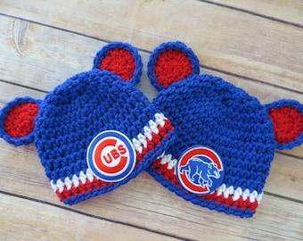Cubs Crochet Hat Newborn to Adult - photo prop - MLB Chicago Cubs Baseball - CUBS/BEAR Patch