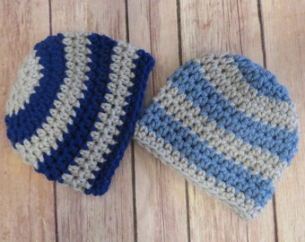 Crochet hats PREEMIE, NEWBORN 0-3 months, baby boy twins, Ready to Ship, bringing home baby, hospital hats, baby's 1st hat, shower gift