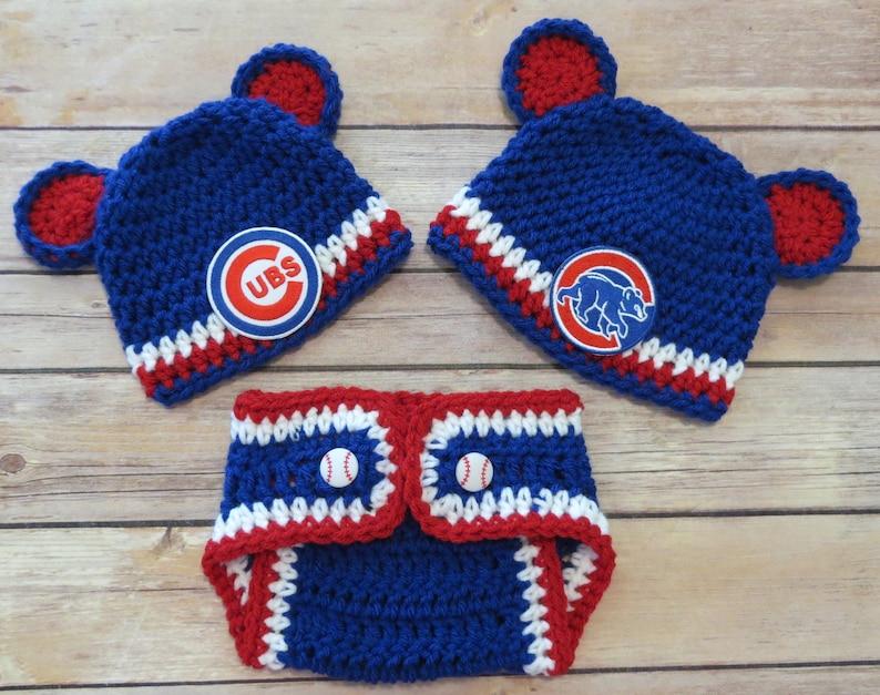a501a4f89f4 Cubs Crochet Hat Set Newborn to 12 mo photo props MLB