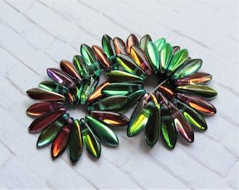 25pcs Czechmates Dagger Beads 16mm x 5mm Luster Iris Topaz