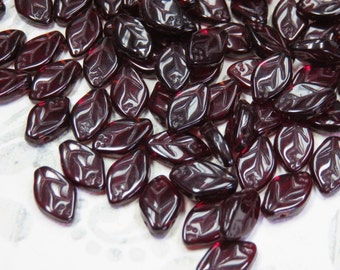 Garnet Czech Glass Leaves, 24 Beads - Item 3283