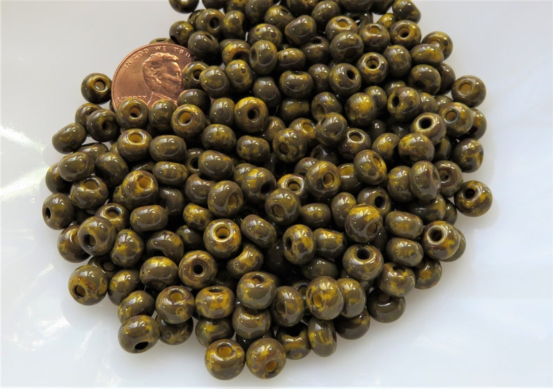 10 g 20 Czech Glass Seed Bead Large Hole Item SB241 50-55 Beads Dark Yellow With Dark Travertine