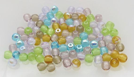 100 Czech Druk Round beads 4mm Spring Flowers