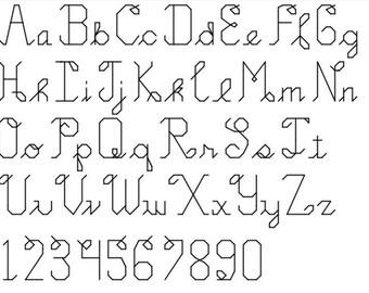 INSTANT DOWNLOAD Loopy Cursive Cross Stitch Font Pattern