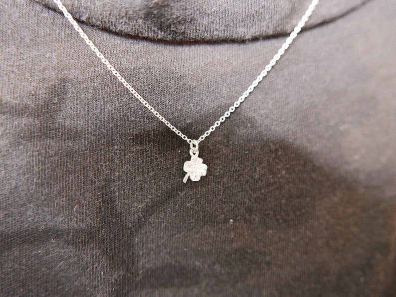 dainty leaf necklace Good luck charm necklace mini 14k clover necklace gold 4 leaf clover necklace