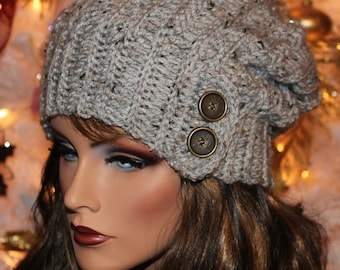 248ca0a99af Gray Marble Slouchy Hat with Button Accent Beanie Boho Womens Girls Teens  Winter