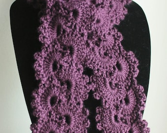 READY TO SHIP! Beautiful Plum Queen Anne's Lace Handmade Crochet Scarf