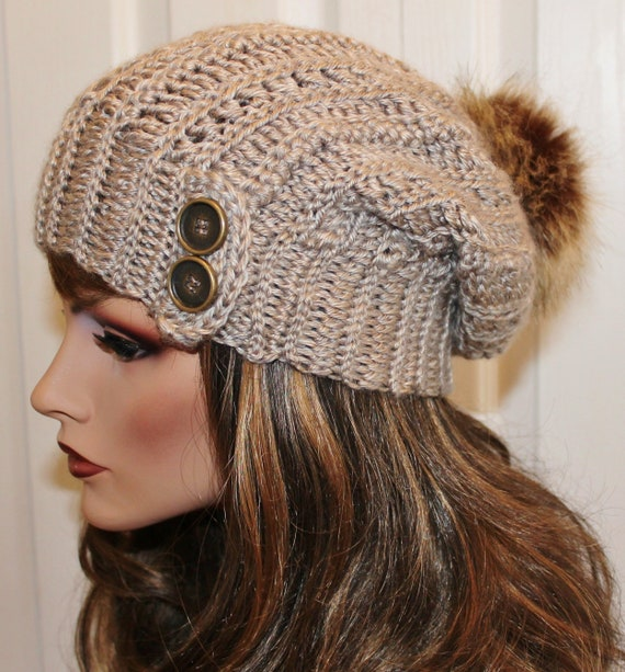 Cute Dark Gray Heather Slouchy Women/'s Teens Hat Beanie Boho with Button Accent