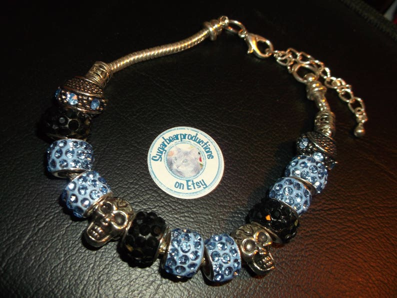 blue stone silver spacers Silver bracelet gift wrapped 6.5-9 adj sugarbearproductions Periwinkle Blue color lampwork glass crystal beads