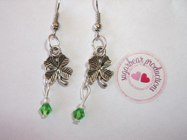 irish Four Leaf clover earrings St Pat/'s sugarbearproductions giftwrapped Silver Shamrock Earrings luck earrings