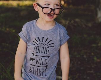 Boys 3rd Birthday Shirt | Boys Young Wild and three shirt | Young Wild Three Birthday | Young Wild and Three, Boho Birthday Party