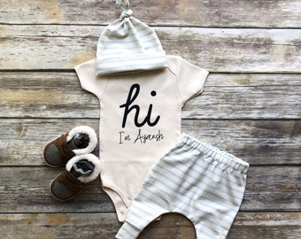 1543217de868 Baby Boy Coming Home Outfit Newborn Boy Coming Home Outfit Baby Boy Clothes  HELLO WORLD Personalized Newborn Outfit Baby Boy Outfits