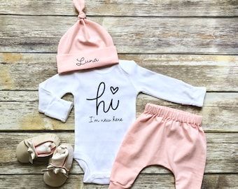 f8ff418882d20 Baby Girl Coming Home Outfit Newborn Girl Coming Home Outfit Baby Girl  Clothes HELLO WORLD Personalized Newborn Outfit Baby Girl Outfits
