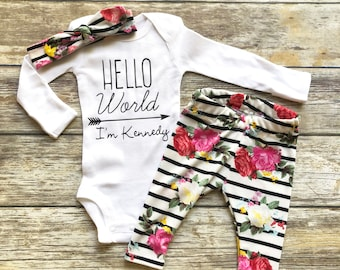 587f4f9c4 Baby Girl Coming Home Outfit Newborn Girl Coming Home Outfit Baby Girl  Clothes HELLO WORLD Personalized Newborn Outfit Baby Girl Outfits