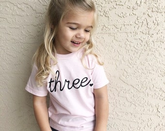 3rd Birthday T-Shirt Young Wild and Three 3 Kids/' T-shirt Boys Girls,4 colours