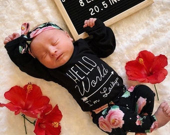 3b45c9c0db69 Baby Girl Coming Home Outfit Newborn Girl Coming Home Outfit Baby Girl  Clothes HELLO WORLD Personalized Newborn Outfit Baby Girl Outfits