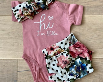 baby outfit girls clothing New Baby Outfit Silver Coming Home Outfit Baby Girl Clothes Infant Outfit Pink Hi I/'m New Here Outfit