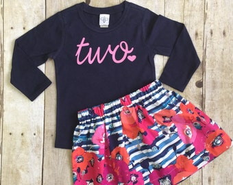 Girls Birthday outfit, 2nd birthday shirt, ANY AGE, girls Birthday shirt and skirt
