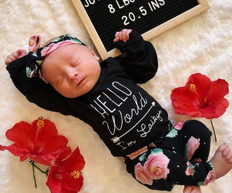 02769e4dcbf69 Baby Girl Coming Home Outfit Newborn Girl Coming Home Outfit | Etsy