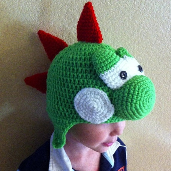 Crochet Yoshi Hat Sizes baby to adult  0dac59e2352