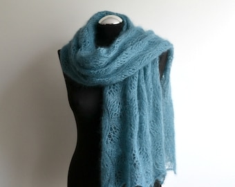 b7a1848c5c08 Ice blue hand knitted luxury lace shawl mohair silk scarf rectangular  handmade