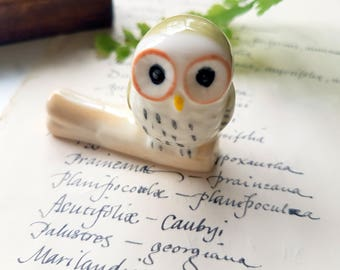 Pen Rest - Ceramic Owl on Branch Calligraphy Straight/Oblique Dip Pen Holder