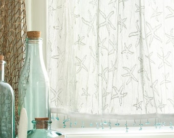 White Lace Starfish Curtain Coastal Beach Nautical