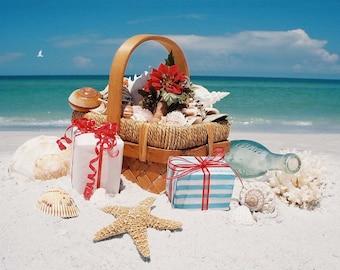 beach basket christmas cards - Tropical Christmas Cards