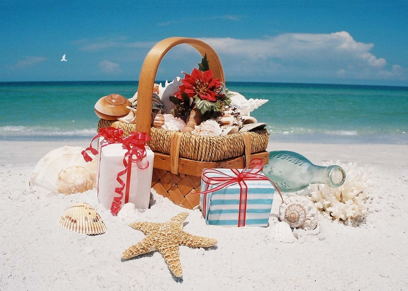 Beach Christmas Cards >> Beach Basket Christmas Cards Etsy