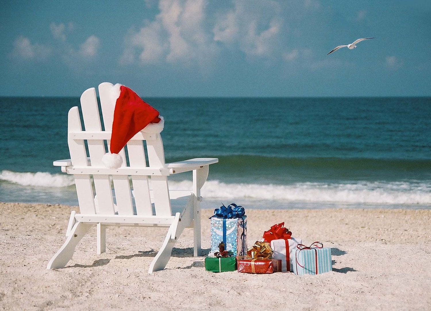Beach Chair with Gifts Tropical Christmas Cards | Etsy