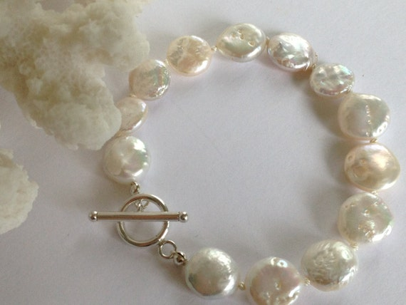 8acec570aec30 White Freshwater Coin Pearl Bracelet, Bridal Jewelry, Bridesmaids Bracelet,  Beach Wedding, Bridesmaid Gift, Mother of the Bride Gift
