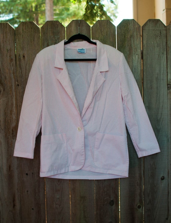 1990s Vintage Pink and White Striped Pant Suit Siz
