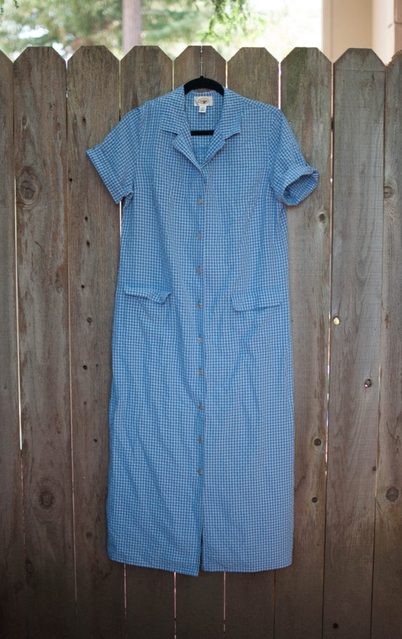1990s Vintage Plus Size Talbots Blue Checkered Lon