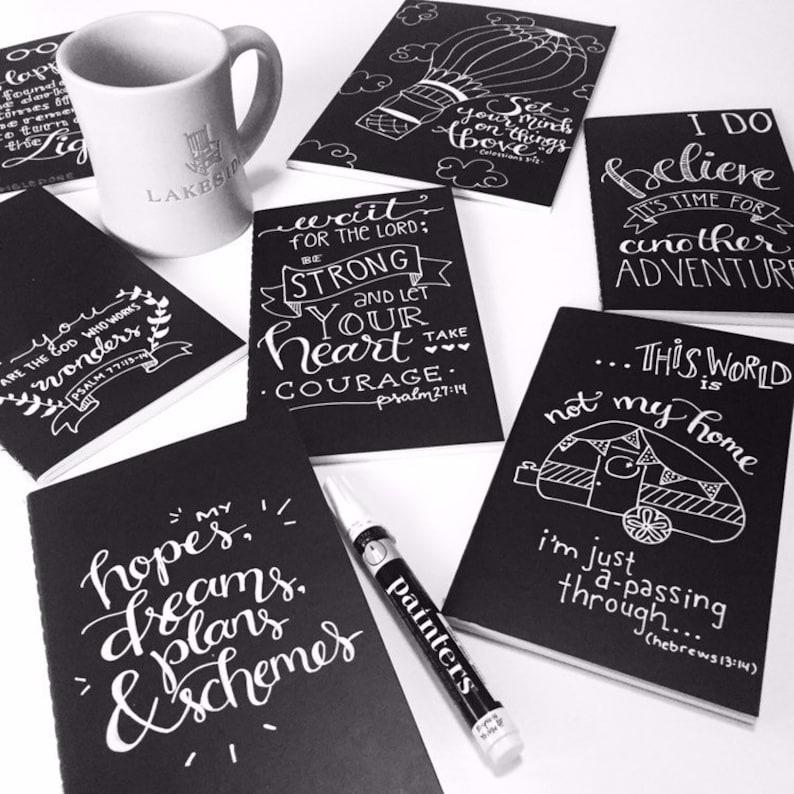 CUSTOM Hand Lettered Notebook, Journal, Sketchbook, chalkboard style, 10