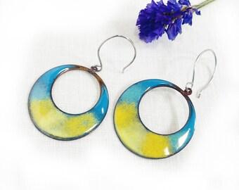 Large Enamel Hoop Earrings Bright Color Large Round Blue Yellow Copper Hoop Dangle Handmade Artisan Jewelry USA