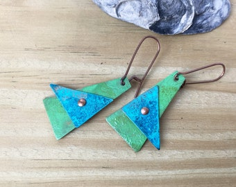 Copper Triangle Patina earrings, Blue and Green patina jewelry, Rustic Geometric Riveted Copper Earrings Patinaed Primitive Dangle Handmade