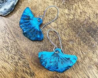 Patina Ginkgo Leaf earrings Blue Green Natural Copper Patina, Rustic jewelry, Turquoise Verdigris Ginko Artisan Handmade