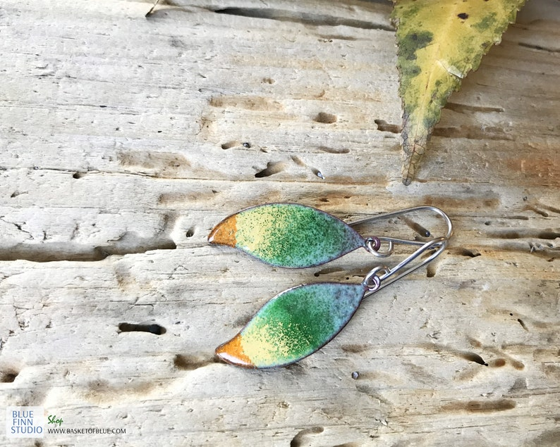 Colorful Enamel Leaf Earrings Green Orange earrings Artisan Boho Handmade Nature Jewelry Small Enameled Copper Leaf earrings