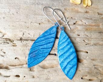 Blue Oval Wave Enamel Earrings Oval Dangle Enameled copper Waves Jewelry Blue Stripes Artisan handmade Art Earrings
