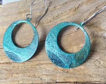 Large Hoop Copper Patina earrings, Blue Green patina jewelry, Rustic Ocean Beach Patinated Boho Round Dangle, Patinaed Primitive Handmade