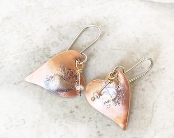 Copper Heart Earrings Mixed Metal Heart Earrings, Copper and Sterling Silver Dangle Earrings, Rustic Organic Artisan Jewelry