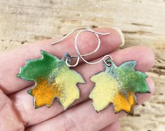 Enameled Copper Maple Leaf earrings, Artisan Copper Handmade Nature Jewelry Multi color Green Orange Leaves Colorful Tree Fall Leaf Autumn
